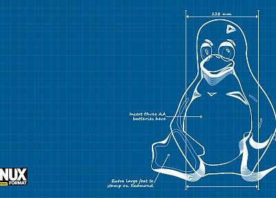 Linux, tux, schematic - random desktop wallpaper