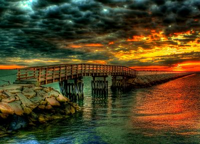 water, clouds, landscapes, bridges, beaches - related desktop wallpaper