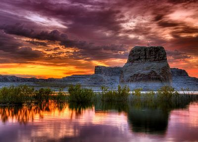 sunset, landscapes, nature, HDR photography, reflections - desktop wallpaper