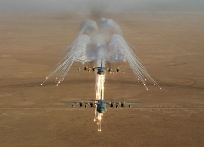 aircraft, military, deserts, warfare, AC-130 Spooky/Spectre, planes, flares - related desktop wallpaper