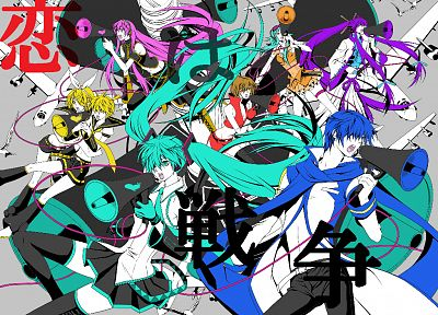 Vocaloid, Hatsune Miku, Megurine Luka, Kaito (Vocaloid), Kagamine Rin, Kagamine Len, Love is War, Megpoid Gumi, Meiko, Kamui Gakupo, detached sleeves - desktop wallpaper