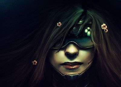 women, flowers, futuristic, glasses, long hair, cyberpunk, masks, artwork, Neuromancer - desktop wallpaper