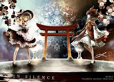 brunettes, blondes, witch, video games, Touhou, dress, text, wind, long hair, ribbons, brown eyes, blossoms, Miko, yellow eyes, Kirisame Marisa, Hakurei Reimu, bows, black dress, bloomers, torii, ponytails, braids, aprons, choker, shrine maiden outfit, ha - related desktop wallpaper