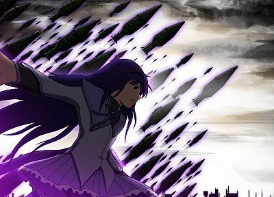 purple, school uniforms, Mahou Shoujo Madoka Magica, anime, Akemi Homura, anime girls - related desktop wallpaper