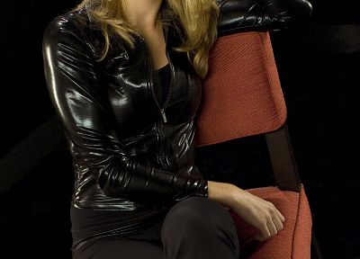 women, Yvonne Strahovski, chairs, leather jacket - related desktop wallpaper