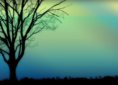 trees, silhouettes - related desktop wallpaper