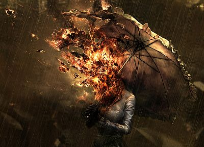 women, rain, fire, CGI, artwork, umbrellas - random desktop wallpaper