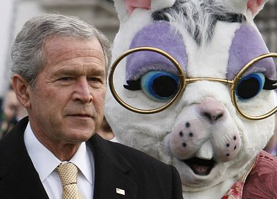 creepy, costume, celebrity, rabbits, presidents, George Bush - desktop wallpaper