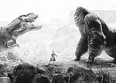 grayscale, King Kong, Tyrannosaurus Rex - related desktop wallpaper