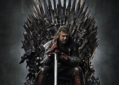 throne, Game of Thrones, A Song of Ice and Fire, posters, TV series, Eddard 'Ned' Stark, swords, House Stark - desktop wallpaper