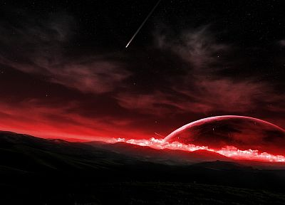 outer space, red, stars, shooting star - related desktop wallpaper