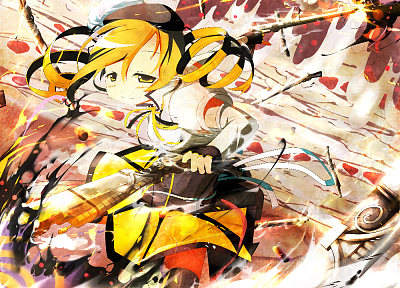 blondes, rifles, guns, gloves, stockings, fight, skirts, long hair, ribbons, corset, thigh highs, yellow eyes, battles, Mahou Shoujo Madoka Magica, blush, Tomoe Mami, curly hair, anime, action, hats, anime girls, detached sleeves, hair ornaments, bangs, b - related desktop wallpaper