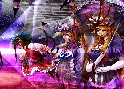 brunettes, blondes, tails, Touhou, gloves, dress, blue eyes, lips, long hair, ribbons, nekomimi, animal ears, short hair, Yakumo Yukari, long nails, umbrellas, purple eyes, Chen, Yakumo Ran, hats, fox girls, kitsunemimi - desktop wallpaper