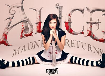 brunettes, women, cosplay, Alice, Alice: Madness Returns, Front Magazine, striped legwear - related desktop wallpaper