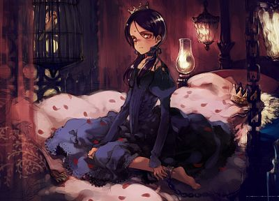 brunettes, lanterns, anime, gothic dress - random desktop wallpaper