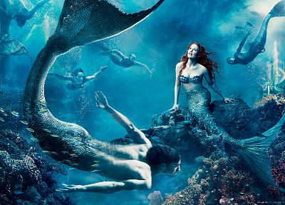 Disney Company, redheads, Julianne Moore, The Little Mermaid, mermaids, concept art, Michael Phelps, underwater, Annie Leibovitz - random desktop wallpaper