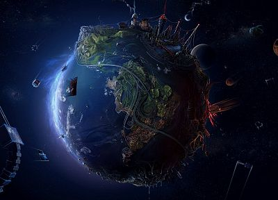 futuristic, planets, Earth, highways, boats, maps, space station, digital art, industrial plants, meteorite, Desktopography, apocalyptic, globe, crescent moon, David Fuhrer - related desktop wallpaper