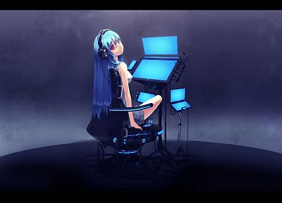 headphones, blue hair, red eyes, original characters - desktop wallpaper