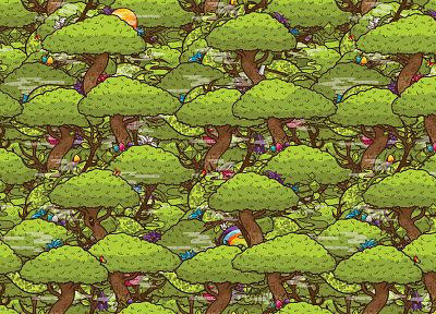 trees, flowers, mushrooms, JThree Concepts, vector art, butterflies, Jared Nickerson - desktop wallpaper