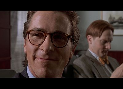 American Psycho, glasses, Christian Bale, screenshots, Patrick Bateman, men with glasses - random desktop wallpaper