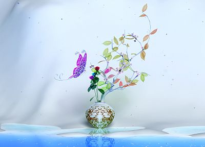 leaves, CGI, plants, butterflies, K3 Studio - random desktop wallpaper