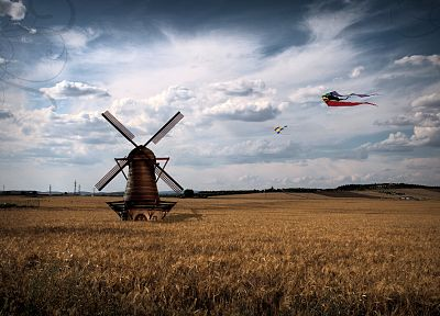 clouds, landscapes, kite, windmills - random desktop wallpaper