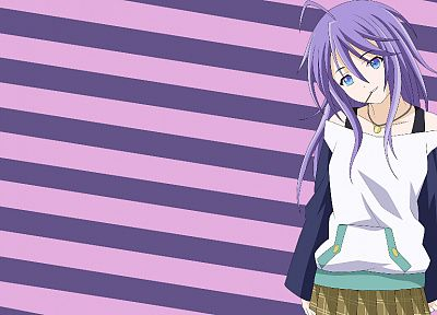 blue eyes, Shirayuki Mizore, purple hair, Rosario to Vampire, stripes, bare shoulders - random desktop wallpaper