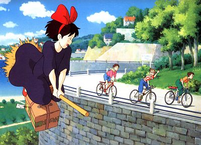 flying, bicycles, roads, Studio Ghibli, Kiki's Delivery Service, waving, children, broomsticks, Kiki (Kiki's Delivery Service) - desktop wallpaper