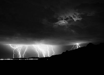 clouds, landscapes, storm, monochrome, lightning - desktop wallpaper