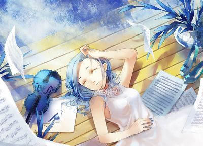 blue hair, violins, closed eyes, anime girls, original characters - random desktop wallpaper