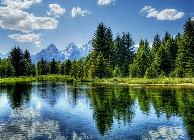 water, mountains, clouds, landscapes, nature, trees, forests, woods, lakes, reflections - desktop wallpaper