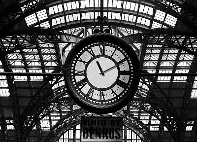 architecture, clocks, Pennsylvania, train stations, grayscale - desktop wallpaper