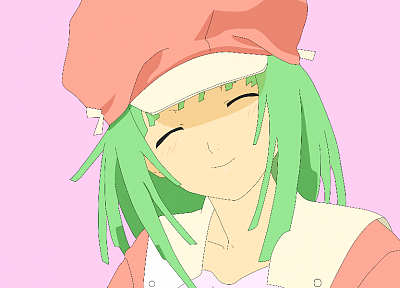 pink, Bakemonogatari, green hair, Sengoku Nadeko, smiling, hats, anime girls - random desktop wallpaper