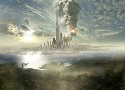 paintings, cityscapes, futuristic, city skyline - related desktop wallpaper