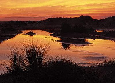 sunset, islands, Holland, sand dunes, The Netherlands - related desktop wallpaper