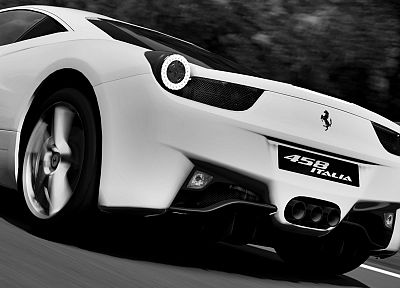 cars, Ferrari, grayscale, Gran Turismo, monochrome, vehicles, Ferrari 458 Italia, Gran Turismo 5 - related desktop wallpaper