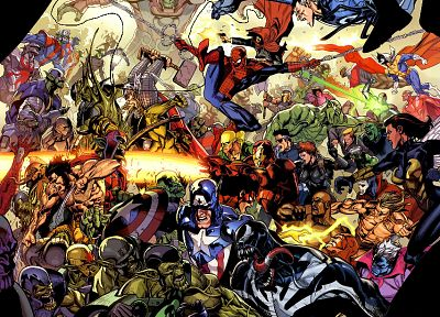 Iron Man, comics, Venom, Thor, Spider-Man, Captain America, Wolverine, books, Marvel Comics, Mr. Fantastic, skrulls - related desktop wallpaper