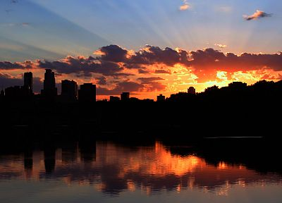 sunset, cityscapes, silhouettes, urban, buildings, rivers, Minneapolis - related desktop wallpaper