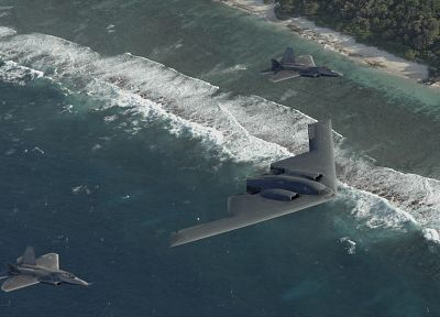 aircraft, military, F-22 Raptor, stealth bomber, planes, B-2 Spirit - desktop wallpaper