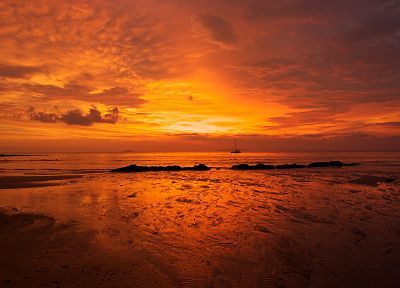sunset, ocean, landscapes, nature, sand, orange, ships, beaches - related desktop wallpaper