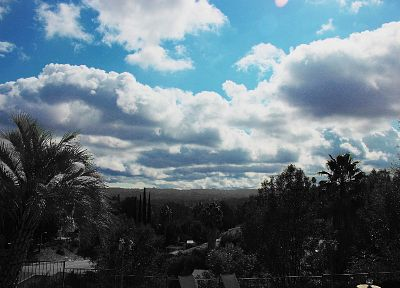 clouds, nature, valleys, California, palm trees, selective coloring, skyscapes - desktop wallpaper