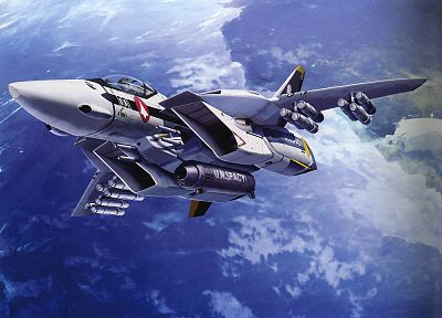 paintings, aircraft, Macross, artistic, navy, planes, vehicles, jet aircraft - desktop wallpaper