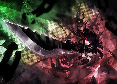 Black Rock Shooter, weapons, red eyes, chains, Black Gold Saw, anime girls - desktop wallpaper
