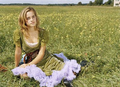 blondes, women, eyes, Emma Watson, dress, fields, outdoors, girls in nature - related desktop wallpaper