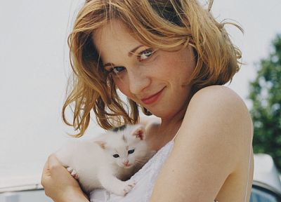 blondes, women, cats, actress, Zooey Deschanel, kittens - random desktop wallpaper