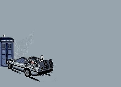 TARDIS, Back to the Future, Doctor Who, DeLorean DMC-12 - desktop wallpaper