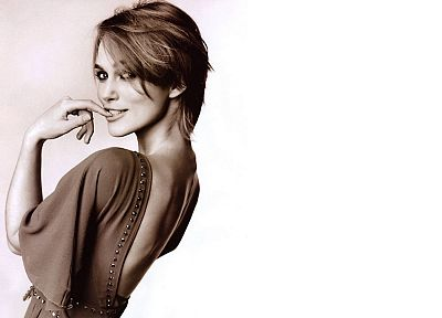 women, Keira Knightley, sepia, simple background, looking back - random desktop wallpaper
