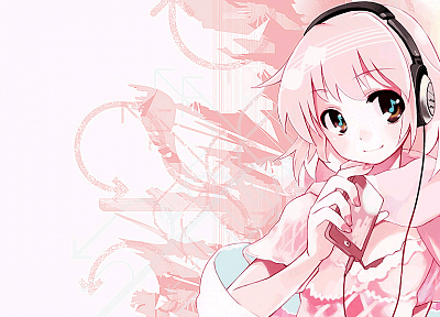 headphones, anime, anime girls - desktop wallpaper