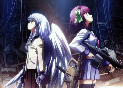 Angel Beats!, school uniforms, Tachibana Kanade, Nakamura Yuri - related desktop wallpaper