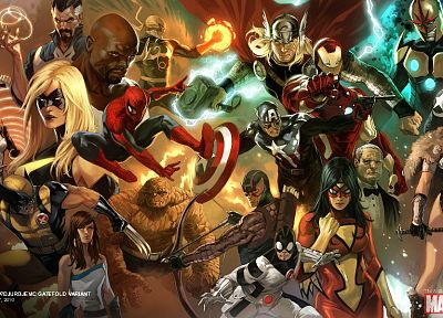 Iron Man, comics, Thor, Spider-Man, Captain America, Wolverine, Avengers comics, Captain Marvel, Marvel Comics, Hawkeye, Mockingbird, Luke Cage, Spider-woman, Doctor Strange, Jessica Jones, Thing (Ben Grimm) - random desktop wallpaper